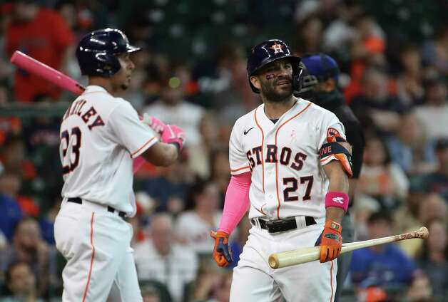 Houston Astros second baseman Jose Altuve (27) reacts after striking out during the fifth inning of an MLB game Sunday, May 9, 2021, at Minute Maid Park in Houston. Photo: Jon Shapley, Staff Photographer / © 2021 Houston Chronicle