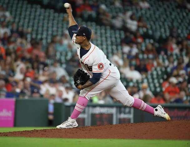 Houston Astros starting pitcher Bryan Abreu (66) pitches during the fifth inning of an MLB game Sunday, May 9, 2021, at Minute Maid Park in Houston. Photo: Jon Shapley, Staff Photographer / © 2021 Houston Chronicle