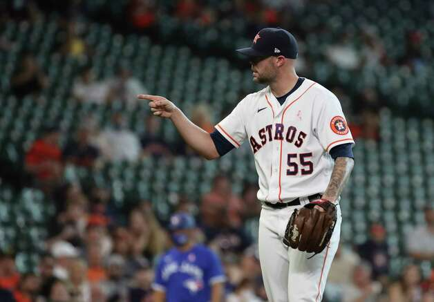 Houston Astros relief pitcher Ryan Pressly (55) motions towards relief pitcher Ryan Pressly (55) after a strikeout during the ninth inning of an MLB game Sunday, May 9, 2021, at Minute Maid Park in Houston. Photo: Jon Shapley, Staff Photographer / © 2021 Houston Chronicle