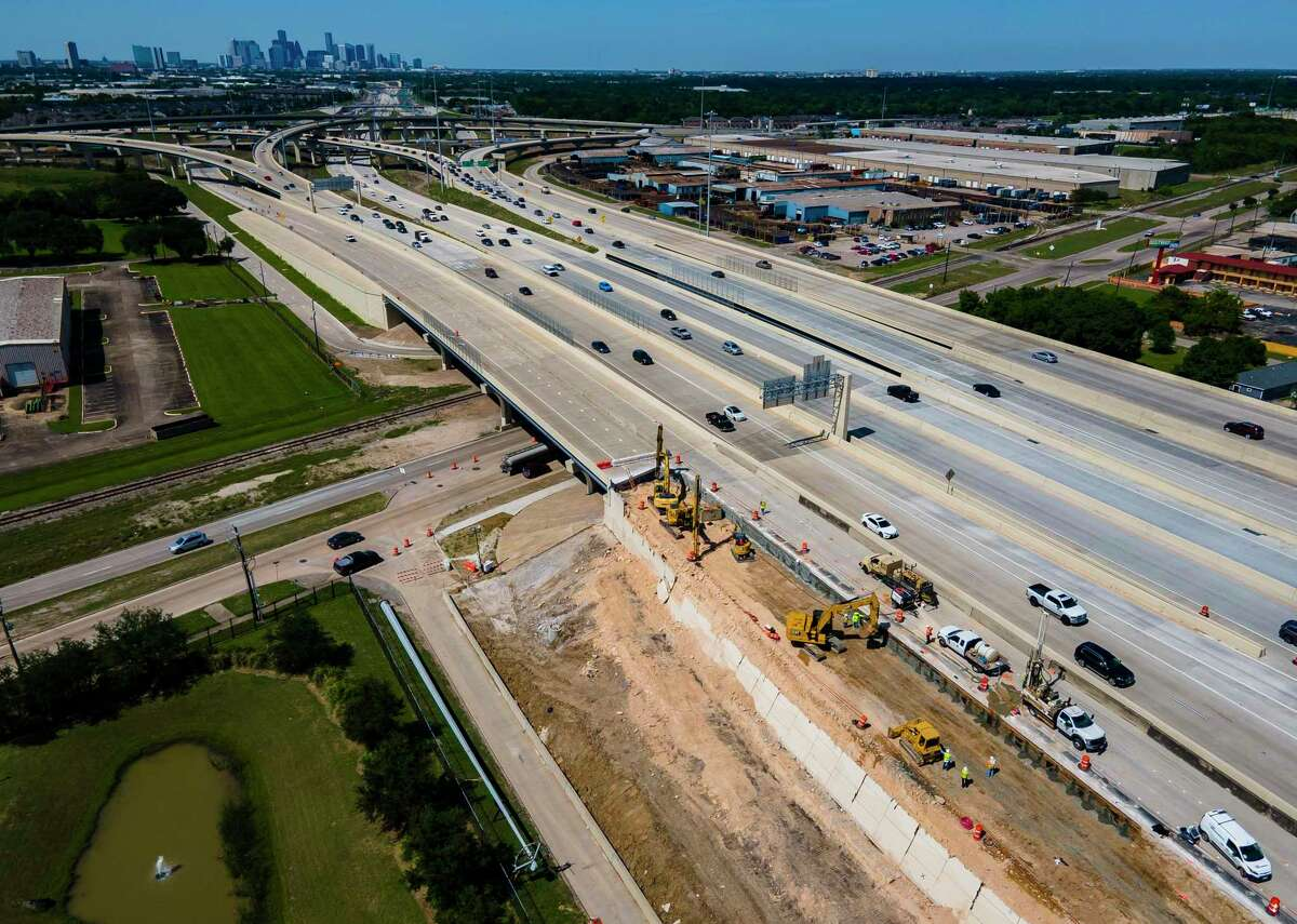 Crews continue to work on a section of southbound Texas 288 that collapsed April 18 just south of Holmes Road on May 7, 2021, in Houston. Traffic is currently being diverted onto the toll lanes with all of the general use lanes of southbound Texas 288 closed.