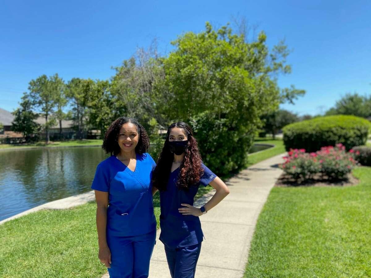 Nikki Berlanga, 46, and her daughter Esperanza Berlanga, 20, pose in their neighborhood in Humble, Texas. The Berlangas come from several generations of nurses.