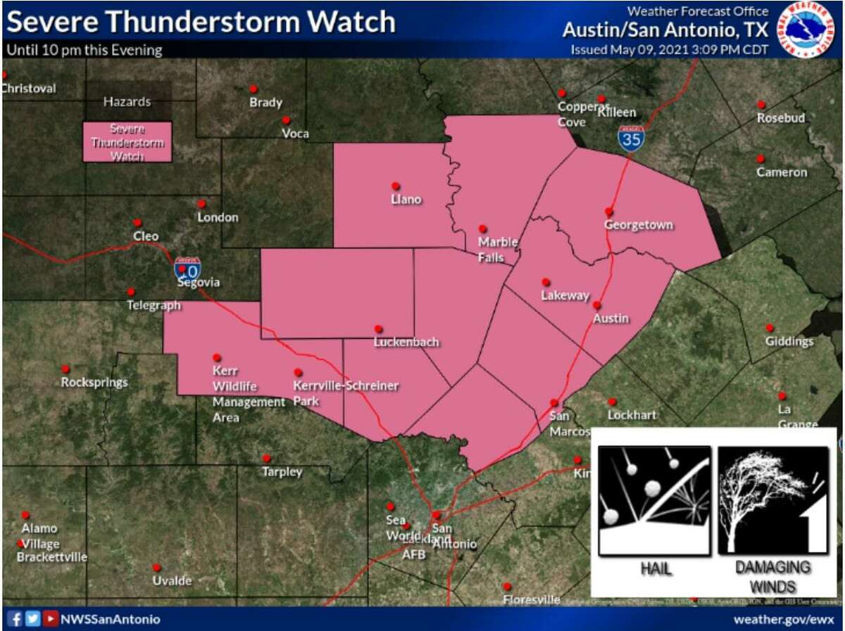 The National Weather Service issued a Severe Thunderstorm Watch for 10 counties to the north of Bexar on Sunday afternoon.