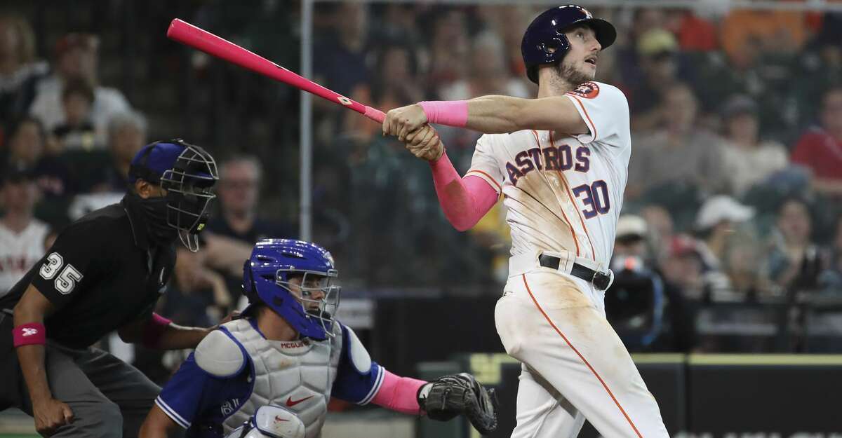 Houston Astros right fielder Kyle Tucker (30) watches his home run ball during the fourth inning of an MLB game Sunday, May 9, 2021, at Minute Maid Park in Houston.