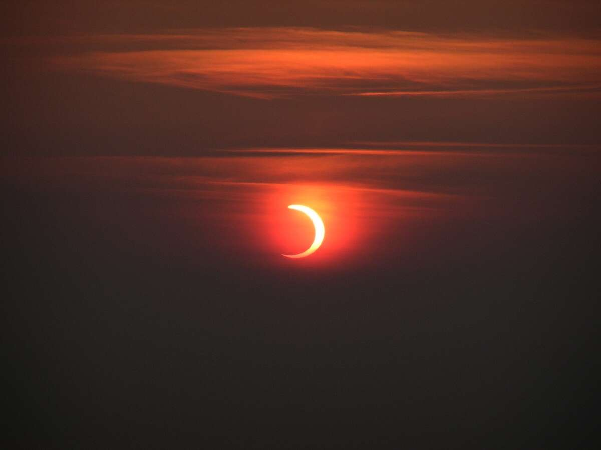 On June 10, a partial solar eclipse - similar to the one shown here in Scotland in 2003 - will be visible to Hudson Valley residents just before 5:30 a.m. It is a rare celestial event in the region that has happened just twice before in the past 150 years.