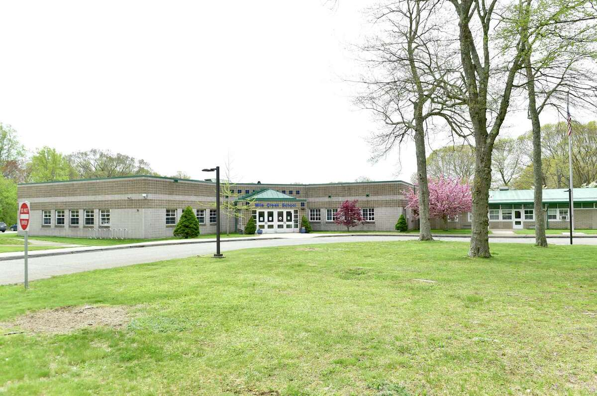 Old Lyme, Connecticut - Saturday, May 08, 2021: The front of Mile Creek School in Old Lyme.