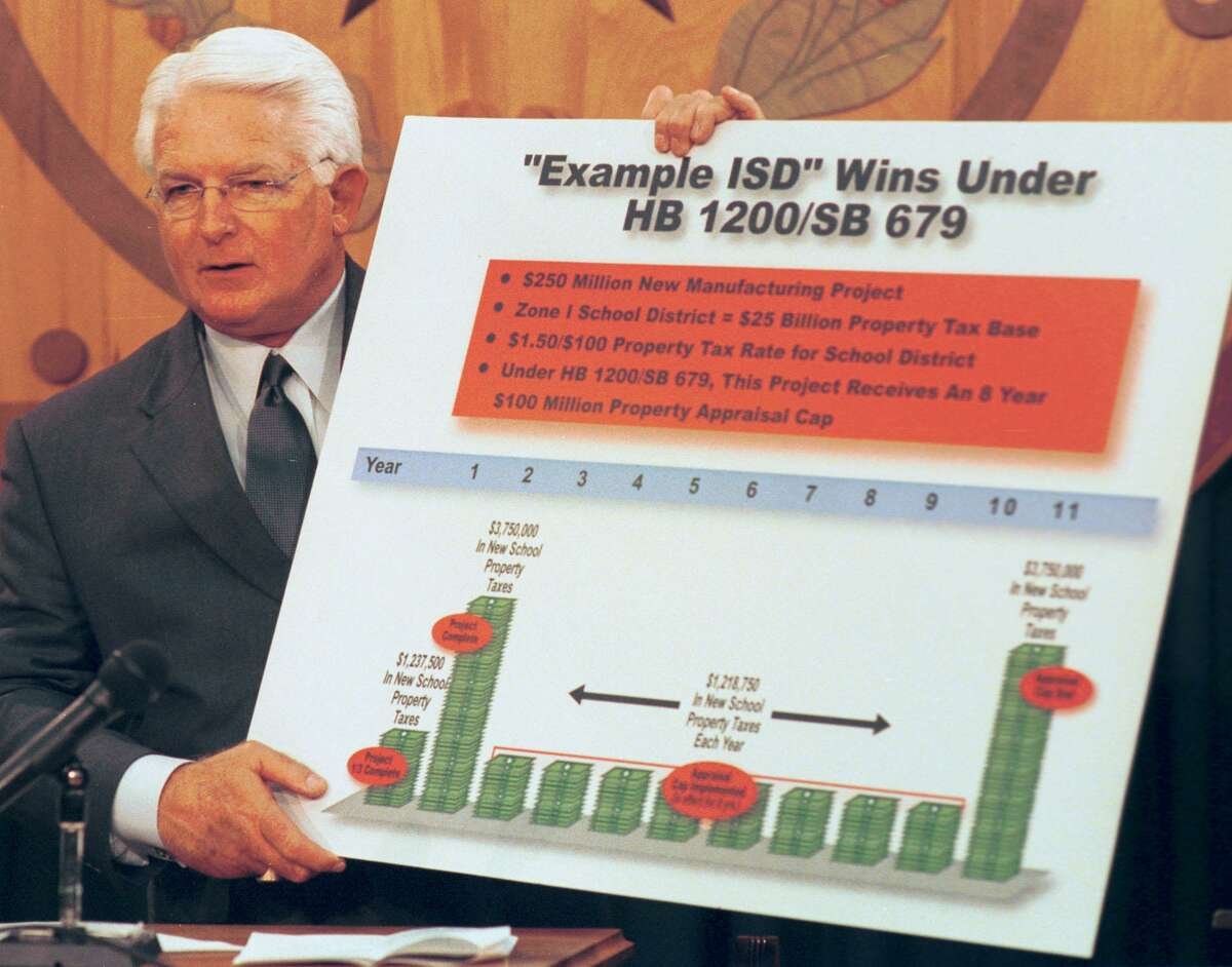In this March 13, 2001 photo, state Rep. Kim Brimer, R-Arlington, says the Texas Economic Development Act will benefit public schools. The program is now known as Chapter 313 for its place in the Texas Tax Code. It's grown into the largest corporate tax incentive program in Texas, with nearly $10.8 billion in tax breaks for companies.