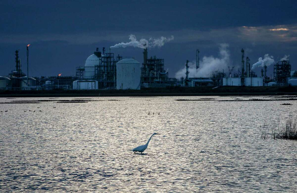 A marshy area near a Dow Chemical plant Jan. 5, 2021, near Freeport. Dow was the first company in Texas to apply for a tax break under Texas' Chapter 313 program. The company acknowledged it had begun construction on its project seven months before its application was approved.
