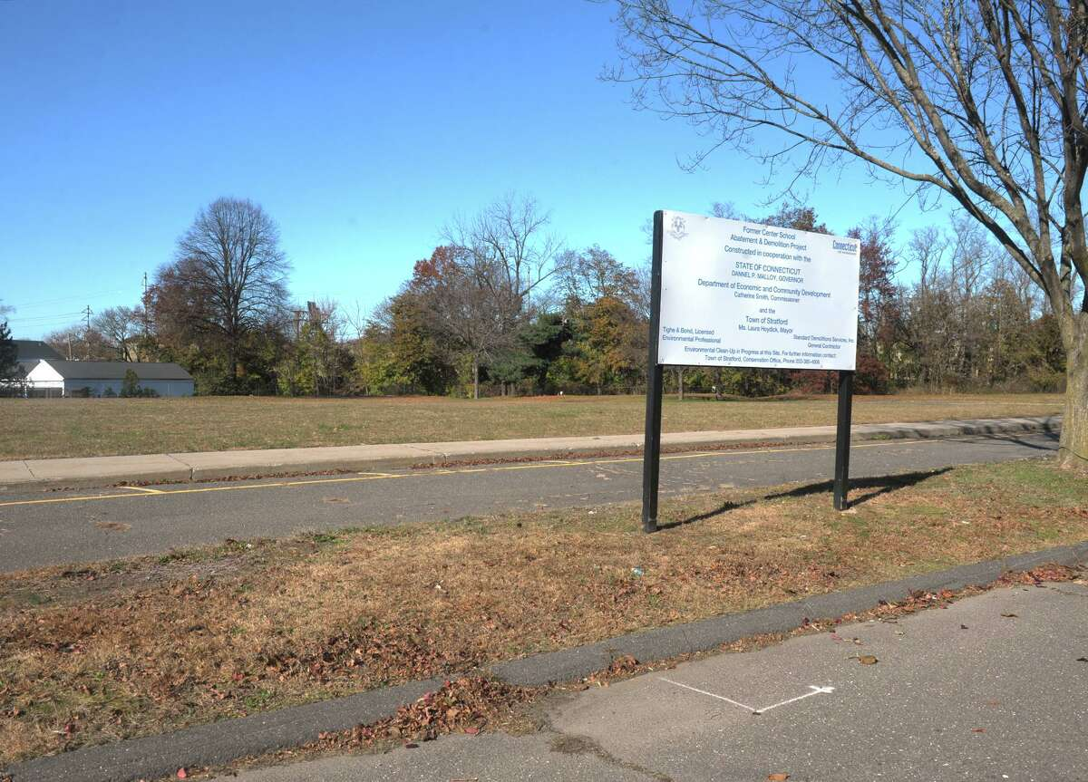 A file photo showing the vacant lot on Sutton Ave. where Center School used to stand, in Stratford, Conn. Nov. 13, 2019.