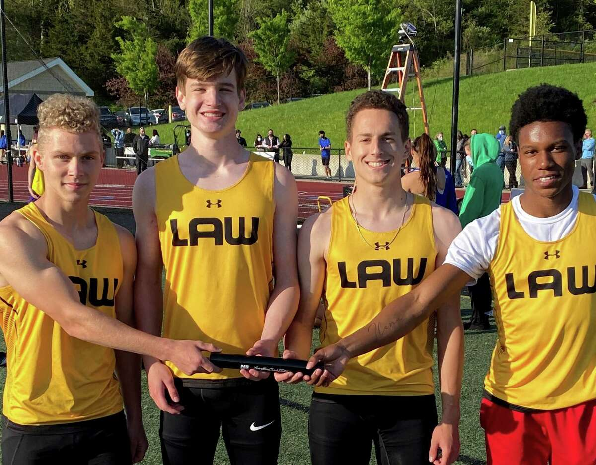 Shane Pritchard, Thomas Bretthauer, Jackson Warters and Keyshon Giles captured the 4x200 relay at the CT. Relay Festival in Middletown.
