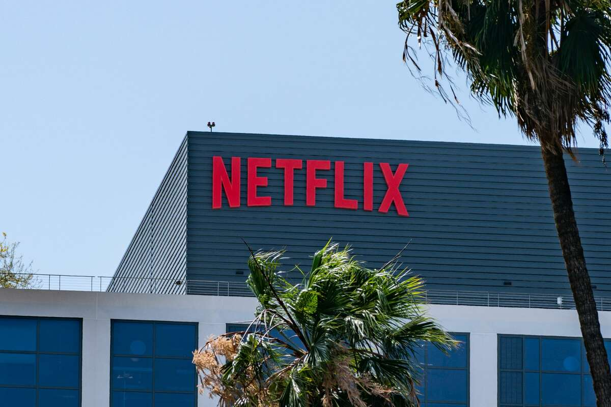 General views of the Netflix corporate office buildings on Sunset Boulevard on May 6, 2021 in Hollywood, California.