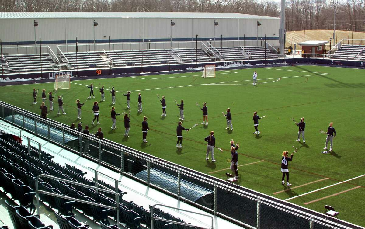 A view of the women's lacrosse team practicing at Joseph J. Morrone stadium on UConn campus in Storrs, Conn., on Thursday Mar. 4, 2021.
