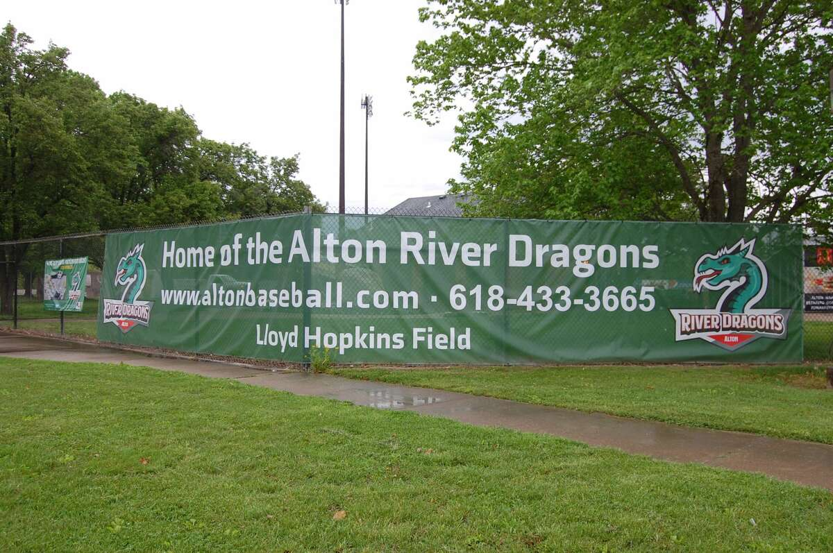 Signage for the new Alton River Dragon of the Prospect League are going up at Lloyd Hopkins Field.
