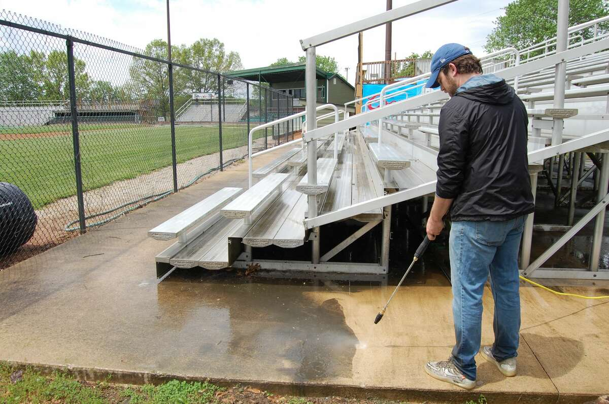 Lloyd Hopkins Field is getting cleaned up for the inaugural River Dragons season too. Assistant General Manager Joe Johnson spent time power-washing sidewalks.