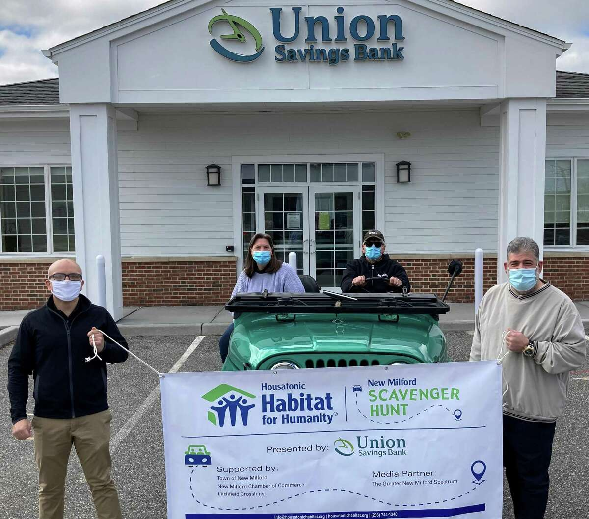 From left: Dan Silva, Union Savings Bank chief information security officer who's on the Housatonic Habitat for Humanity Board of Directors; Denise Del Mastro, New Milford Chamber of Commerce executive director; Troy Hart of New Milford, a 20-year Housatonic Habitat construction volunteer; and Mayor Peter Bass.