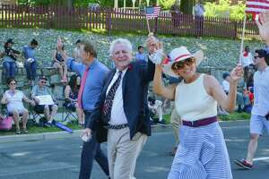 Mayor Harry Rilling walks in Norwalk's Memorial Day parade, in Norwalk, Conn. May 27, 2019.