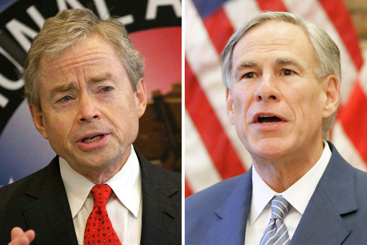 Don Huffines and Gov. Greg Abbott are pictured together in this composite photo.