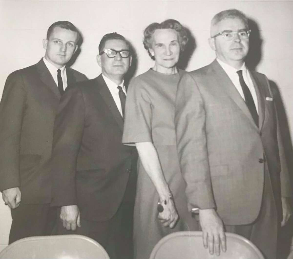 New officers of the Midland Downtown Business Association are, from left, Treasurer Alan W. Ott, vice president and cashier of Chemical Bank and Trust Company; President Benjamin F. Hines, manager of the local Sears & Roebuck store; Secretary Geraldine Yates of Katharine Stevens Shop, and Vice President Thomas King, owner of Callighan's Town and Country. Retiring MBA president is Marvin M. Stein. February 1965