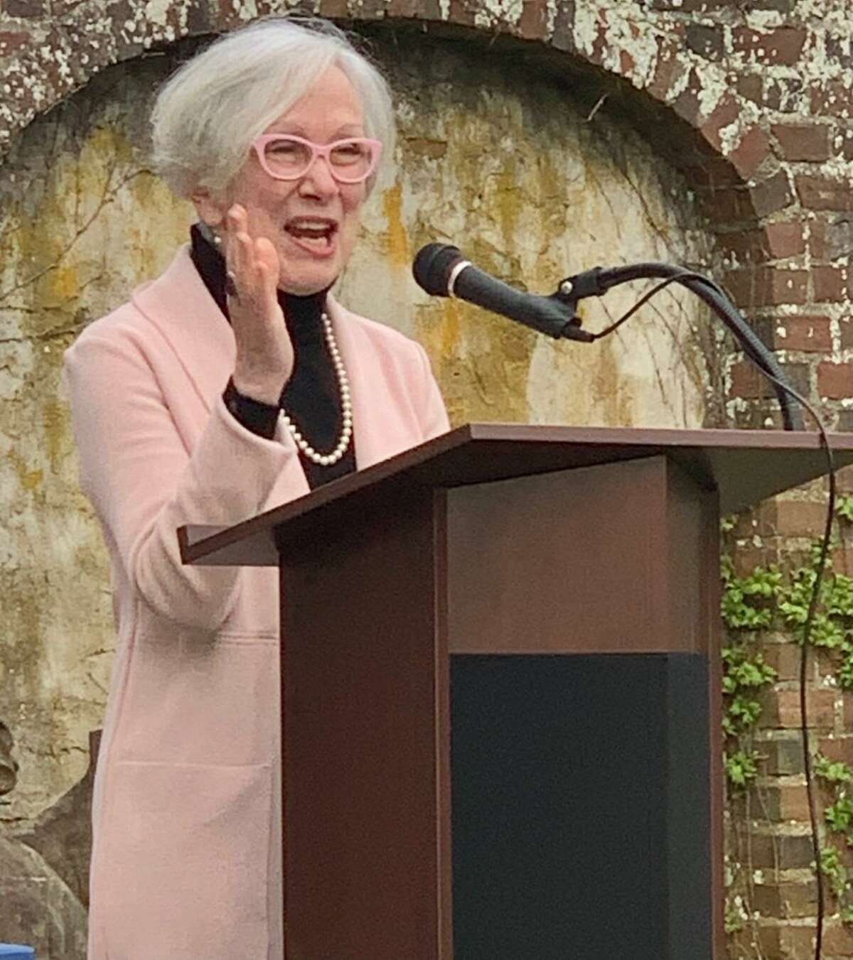 """Ridgefield's Poet Laureate Barb Jennes read an original poem at the event called """"Why Art."""""""