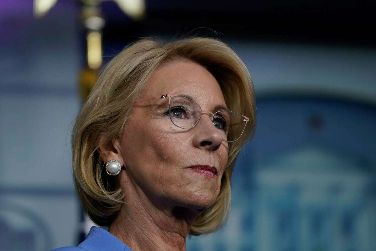 Former Secretary of Education Betsy DeVos on March 26, 2020, in Washington, DC. (Drew Angerer/Getty Images/TNS)
