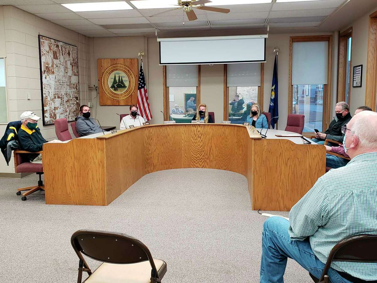 The Bad Axe City Council before their meeting on Monday night. The council heard from Terry Waitt of the Bad Axe Church of Christ about sponsoring part of the walking path. (Robert Creenan/Huron Daily Tribune)