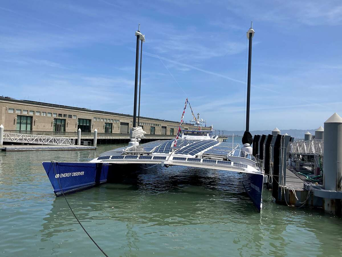 The Energy Observer, a solar and hydrogen-powered boat, at San Francisco's Pier 9.