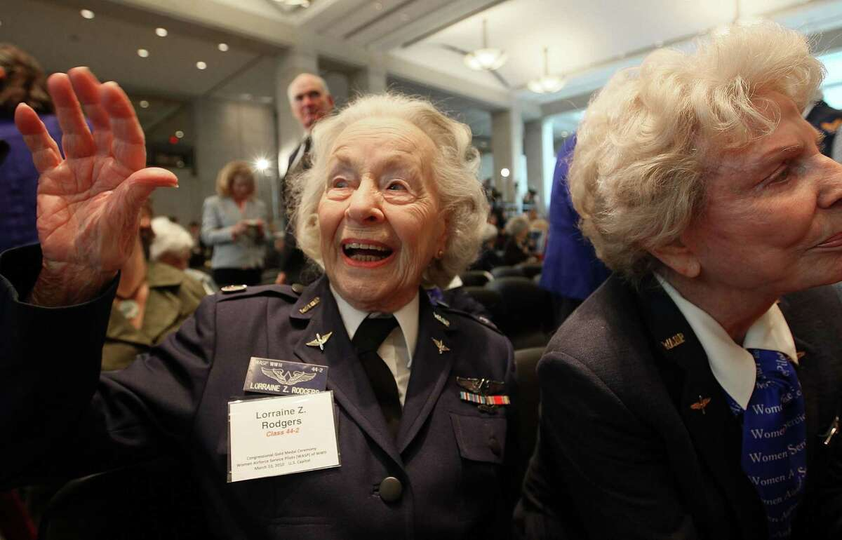 Pilot Lorraine Rodgers of Alexandria, Virginia attends a Congressional Gold Medal ceremony at the US Capitol on March 10, 2010 in Washington, DC. The ceremony was held to honor the Women Air Force Service Pilots (WASP) of WWII.
