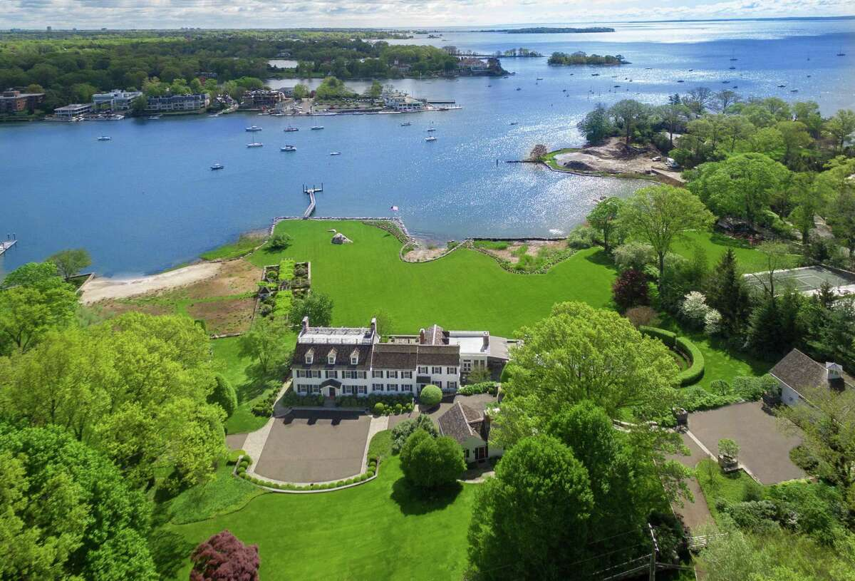 The waterfront estate at 23 Smith Road in Greenwich, Conn., which was sold on May 6, 2021, for $27.75 million. (Photo courtesy Houlihan Lawrence)