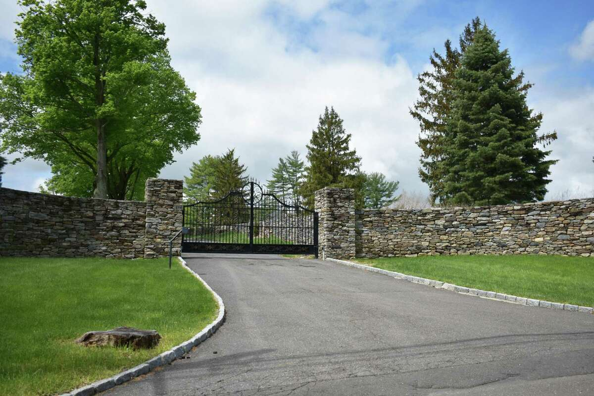 The entrance to Star Meadow Farm on Erskine Road in Stamford, Conn., which was listed for sale in May 2021 for $20 million.