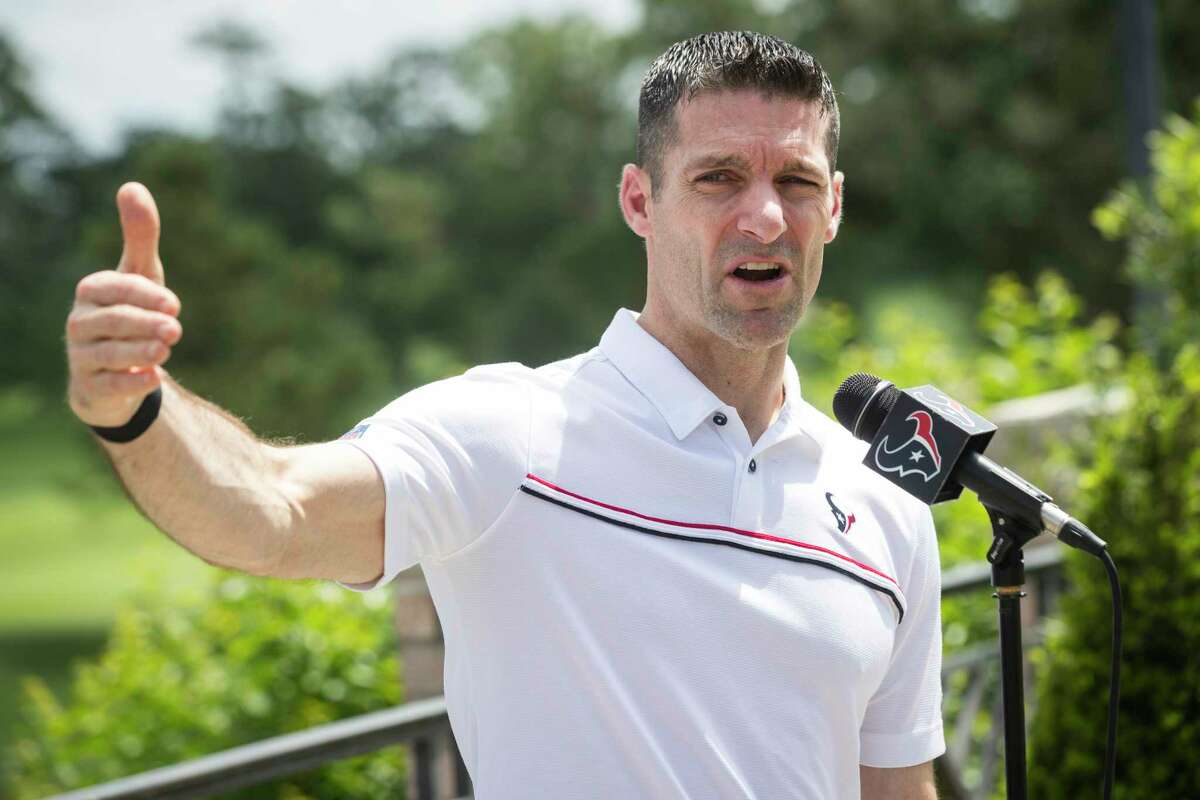 Houston Texans general manager Nick Caserio speaks during a news conference before the 18th Annual Houston Texans Charity Golf Classic on Monday. The tournament is expected to raise well over $350,000 this year, contributing to the more than $35 million raised for the Houston Texans Foundation since its inception in 2002.