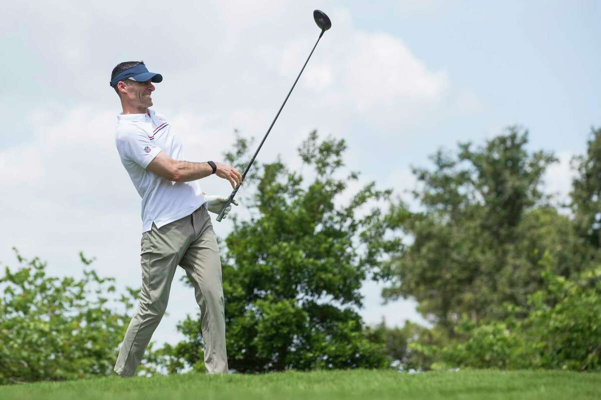 Houston Texans general manager Nick Caerio tees off during the 18th Annual Houston Texans Charity Golf Classic Monday, May 10, 2021 in Houston. The tournament is expected to raise well over $350,000 this year, contributing to the more than $35 million raised for the Houston Texans Foundation since its inception in 2002.