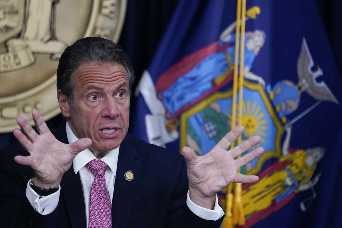 NEW YORK, NEW YORK - MAY 10: New York Gov. Andrew Cuomo speaks during a news conference on May 10, 2021 in New York City.(Photo by Mary Altaffer-Pool/Getty Images)