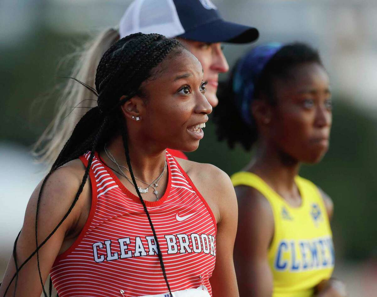 Camryn Dickson of Clear Brook reacts after seeing blazing time of 23.28 in the girls' 200-meter dash during the Class 6A UIL Track and Field Championships at Mike A. Myers Stadium Saturday in Austin.