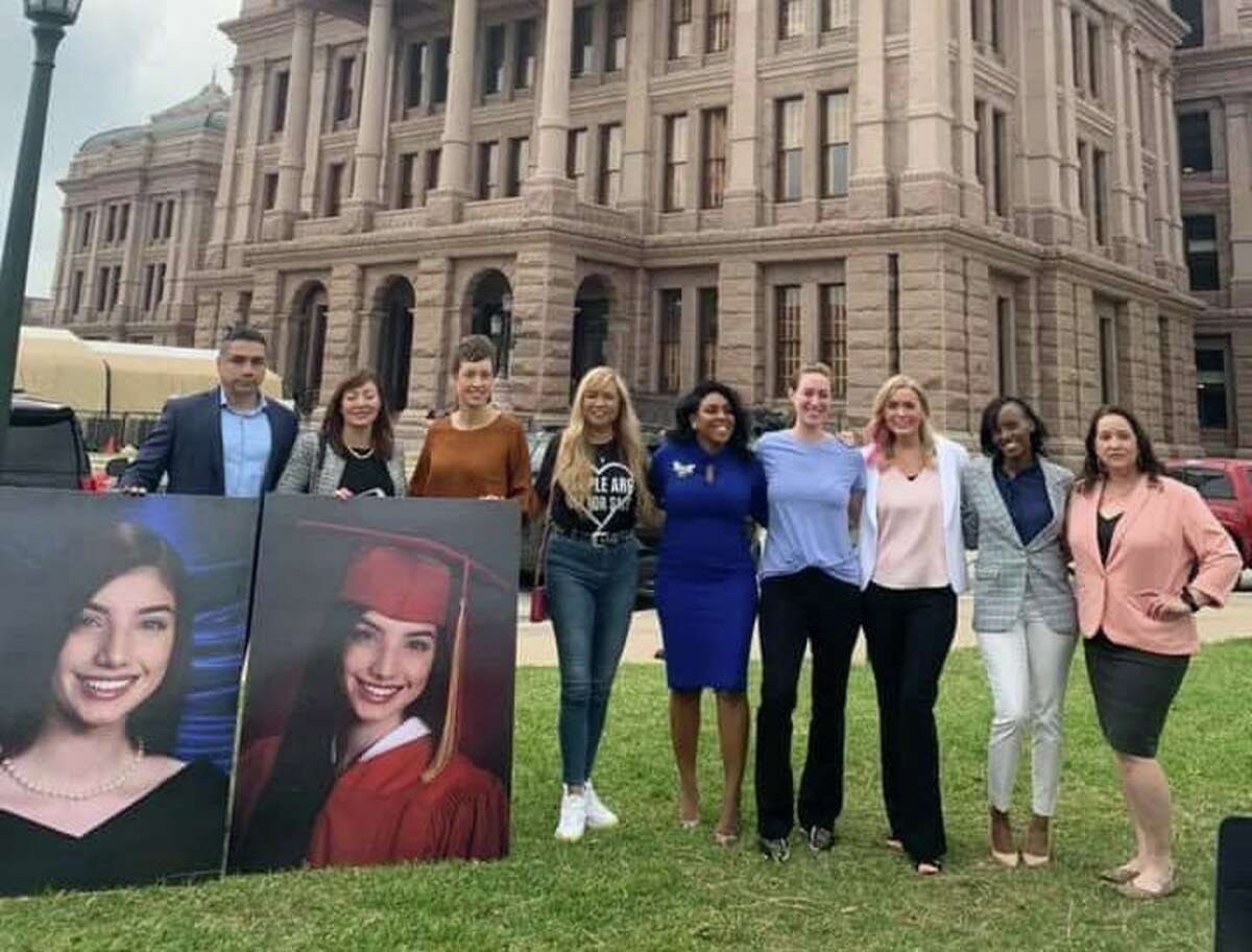 Volunteers from Child Advocates of Fort Bend cheer the passage of the SMART Act through the Texas senate on May 6, 2021.