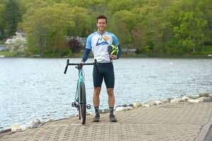 Ben Grannis will be biking cross-country in support of the organization 'TextLess Live More'. Grannis hopes to raise awareness of distracted driving. Monday, May 10, 2021, in Ridgefield, Conn.