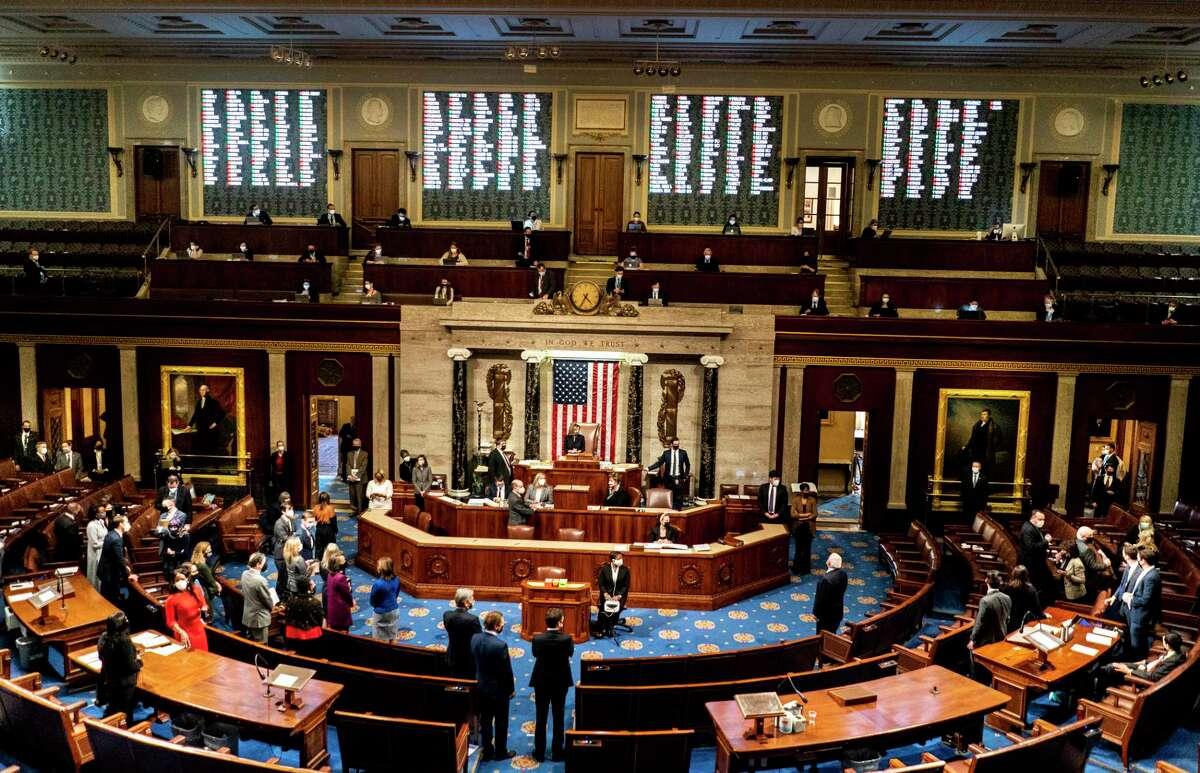 House Speaker Nancy Pelosi (D-Calif.) presides as House lawmakers vote to impeach President Donald Trump on Jan. 13, 2021.