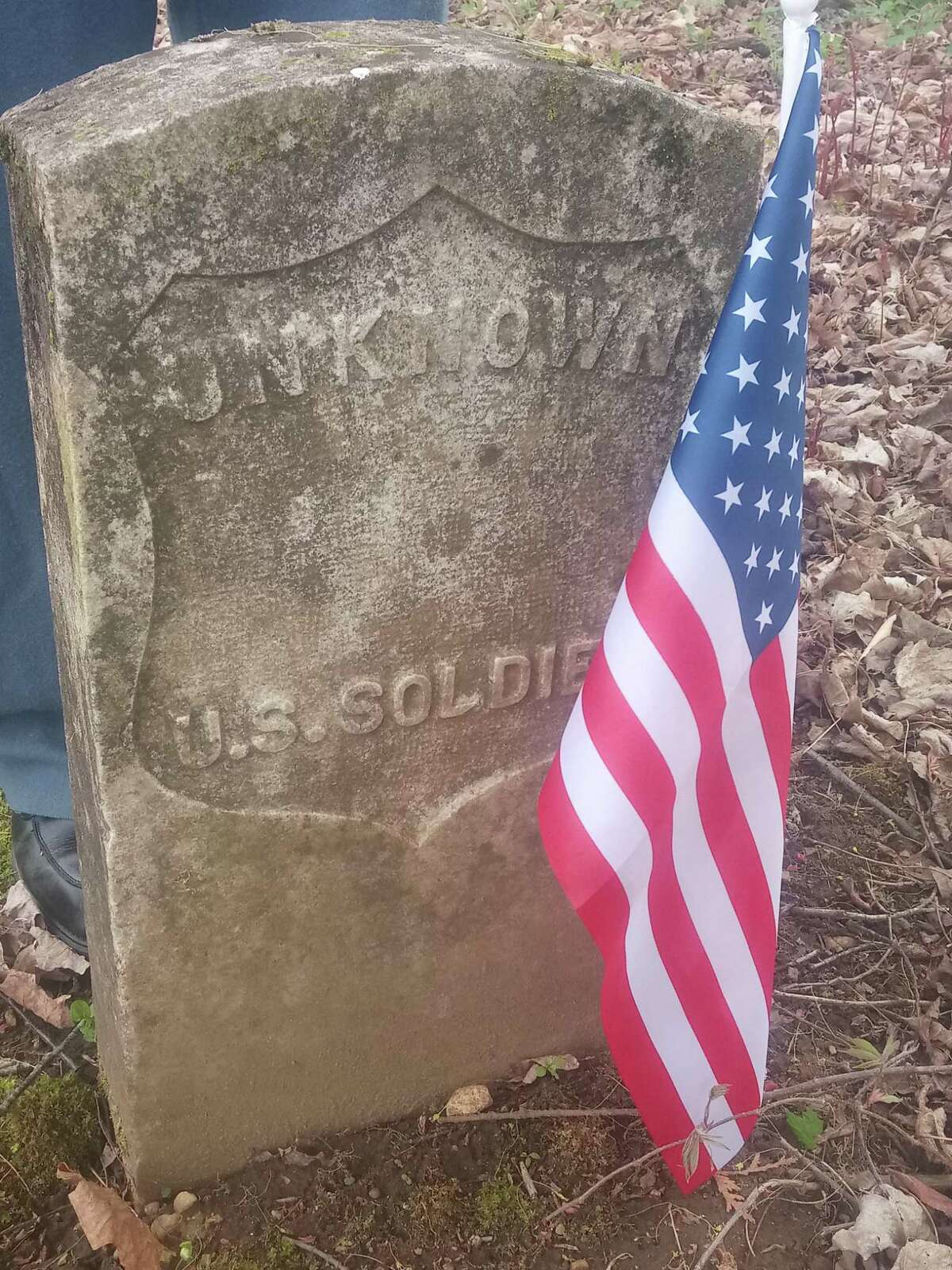 A small group of Civil War reenactors honored U.S. Army Major John Sedgwick Sunday. Sedgwick, who served in the Union Army and was killed in action in 1864 in Spotsylvania, VA, is buried at Old Cornwall Hollow Cemetery. Above, an unknown soldier's grave at the cemetery.