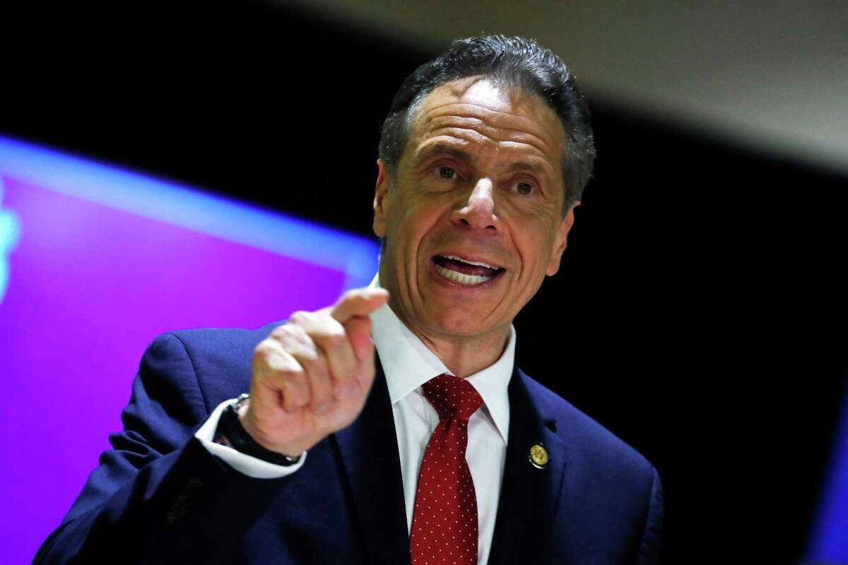 Gov. Andrew Cuomo speaks at an event in Harlem on April 23, 2021. (Photo by MIKE SEGAR/POOL/AFP via Getty Images)