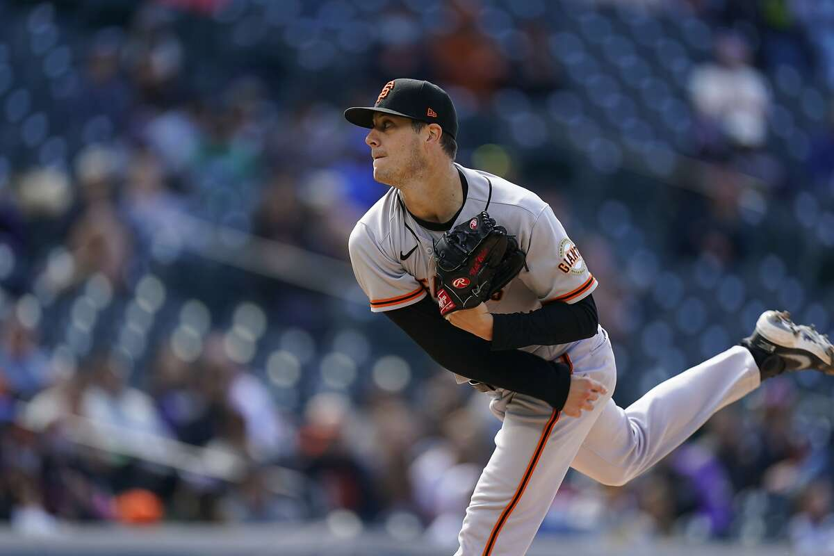 San Francisco Giants relief pitcher Matt Wisler (37) in the fourth inning of a baseball game Wednesday, May 5, 2021, in Denver. (AP Photo/David Zalubowski)