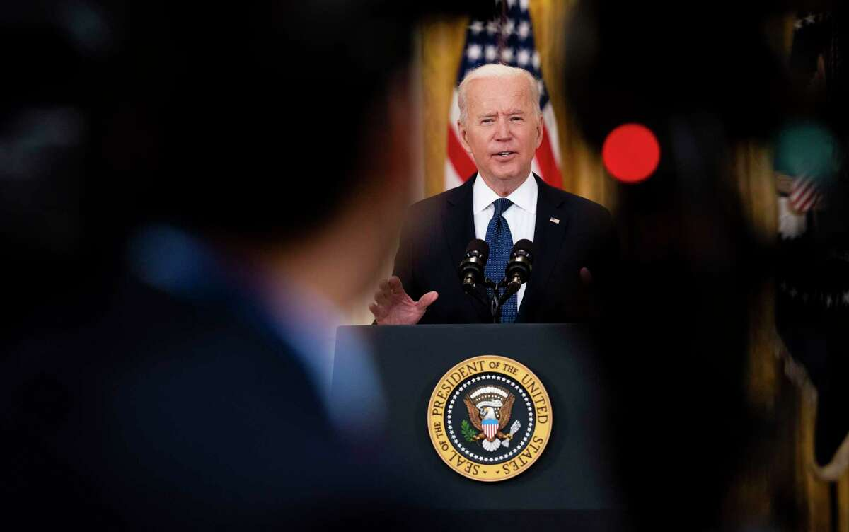 President Joe Biden speaks in the East Room of the White House in Washington on Monday, May, 10, 2021, about the economy and the cyber attack against Colonial Pipeline. (Doug Mills/The New York Times)