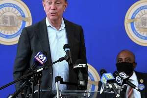 Gov. Ned Lamont speak at a press conference at Gateway Community College in New Haven in April.