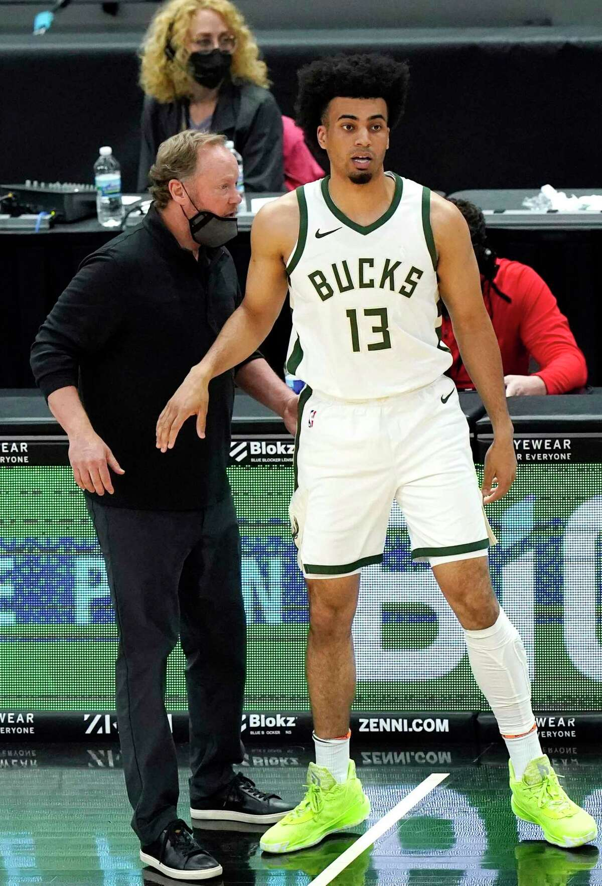 Bucks coach Mike Budenholzer, talking with fJordan Nwora, said his memories of working with former Spurs star Tim Duncan during his days as an assistant center around one word: winning.