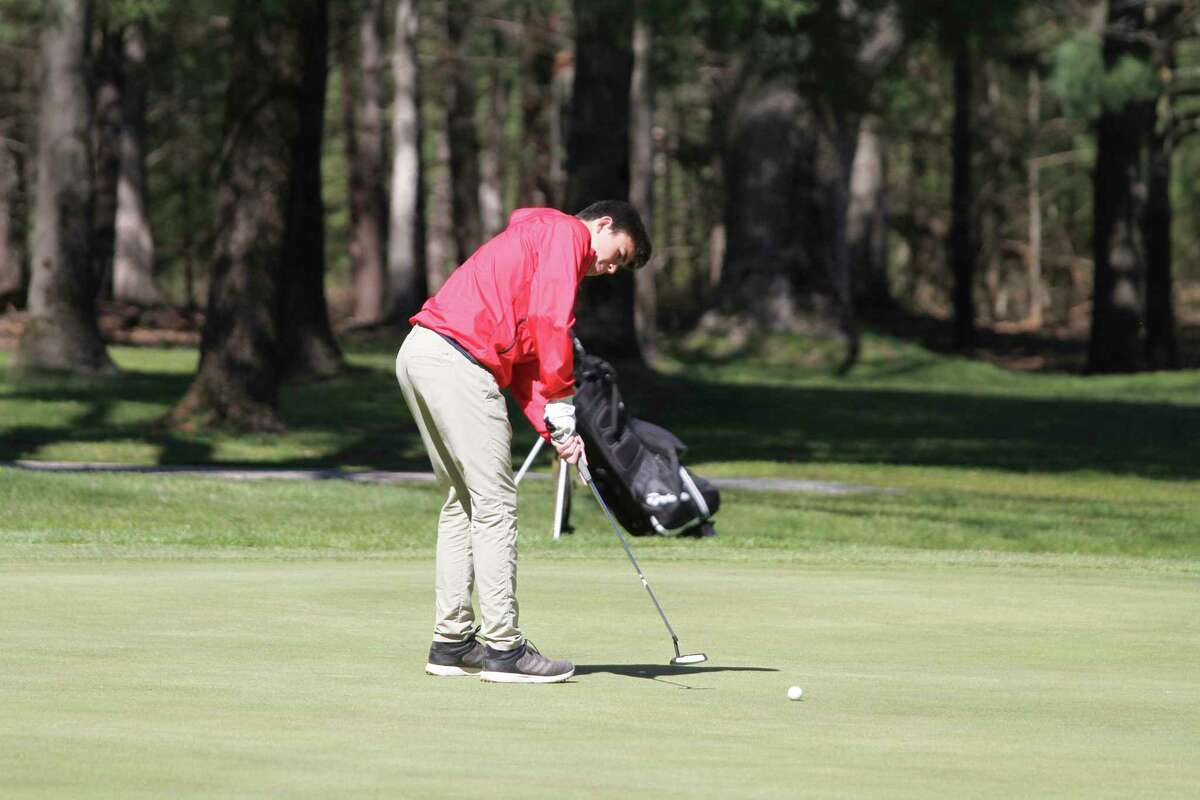 Manistee freshman Jacob Scharp earned match medalist honors as he led the Chippewas to a Lakes 8 Conference victory on Monday at Manistee National Golf & Resort. (Dylan Savela/News Advocate)
