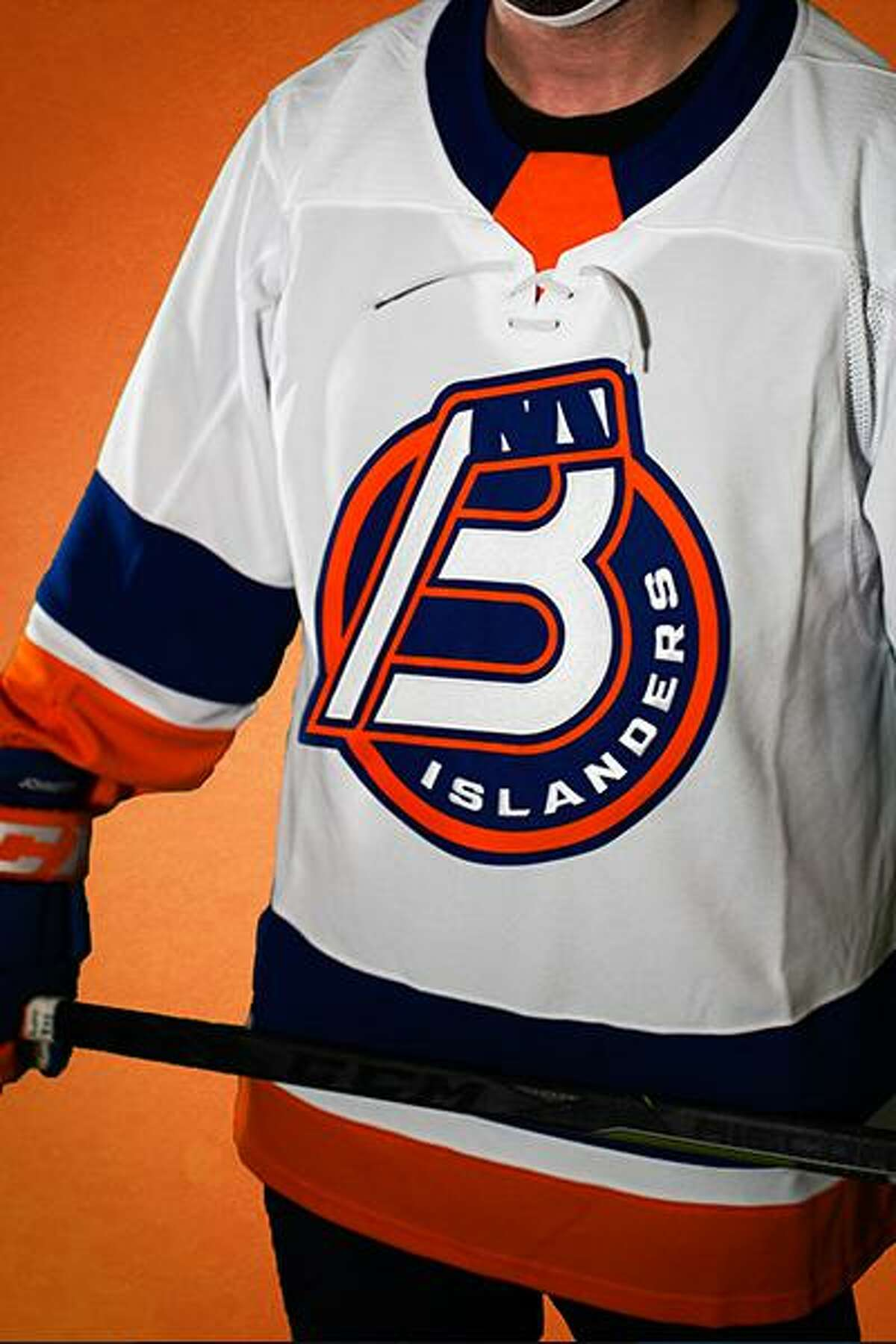 The Sound Tigers announced they are changing their name to the Bridgeport Islanders on Monday, May 10, 2021. The team's new logo is dispalyed on a home game jersey.
