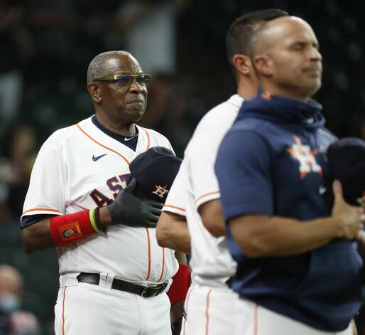 Houston Astros manager Dusty Baker Jr. without a mask during the National Anthem before the start of an MLB baseball game at Minute Maid Park, Monday, May 10, 2021, in Houston. Photo: Karen Warren/Staff Photographer / @2021 Houston Chronicle