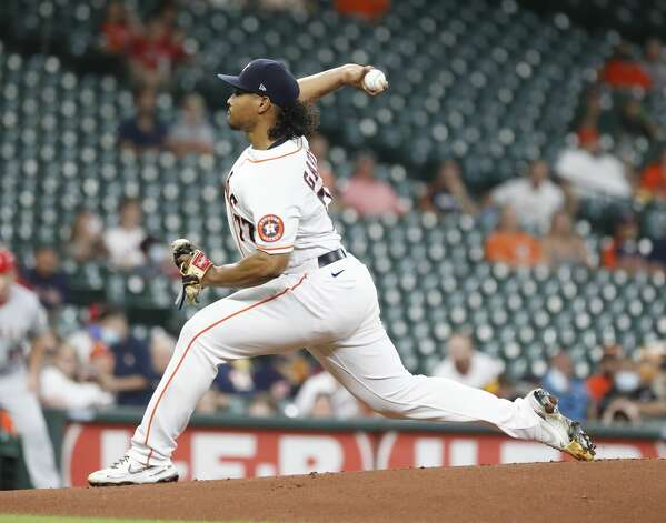 Houston Astros starting pitcher Luis Garcia (77) pitches during the first inning of an MLB baseball game at Minute Maid Park, Monday, May 10, 2021, in Houston. Photo: Karen Warren/Staff Photographer / @2021 Houston Chronicle