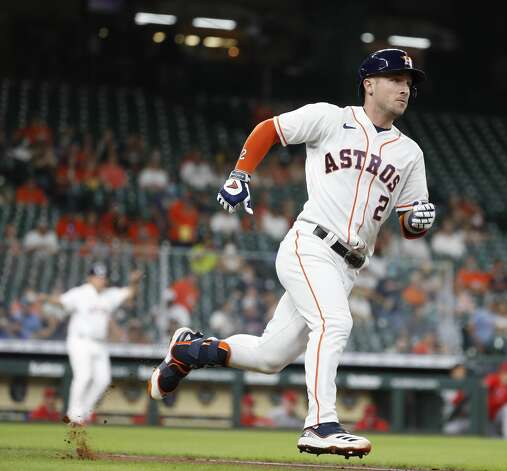 Houston AstrosAlex Bregman (2) runs to first after hitting an RBI ground-rule double during the first inning of an MLB baseball game at Minute Maid Park, Monday, May 10, 2021, in Houston. Photo: Karen Warren/Staff Photographer / @2021 Houston Chronicle