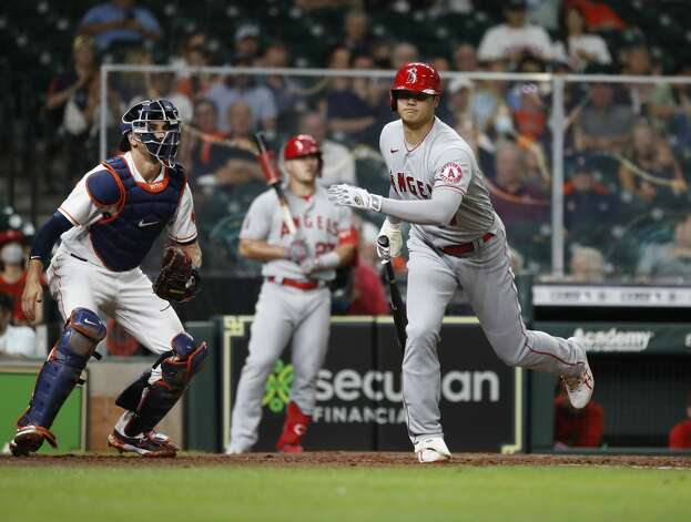 Los Angeles Angels designated hitter Shohei Ohtani (17) strikes out against Houston Astros starting pitcher Luis Garcia during the third inning of an MLB baseball game at Minute Maid Park, Monday, May 10, 2021, in Houston. Photo: Karen Warren/Staff Photographer / @2021 Houston Chronicle