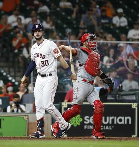 Houston Astros Kyle Tucker (30) strikes out against Los Angeles Angels relief pitcher Jose Suarez during the third inning of an MLB baseball game at Minute Maid Park, Monday, May 10, 2021, in Houston. Photo: Karen Warren/Staff Photographer / @2021 Houston Chronicle