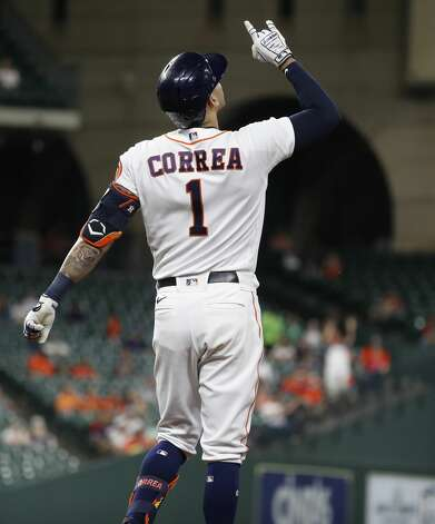 Houston Astros Carlos Correa (1) reacts after his single during the fifth inning of an MLB baseball game at Minute Maid Park, Monday, May 10, 2021, in Houston. Photo: Karen Warren/Staff Photographer / @2021 Houston Chronicle
