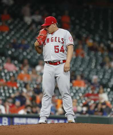 Los Angeles Angels relief pitcher Jose Suarez (54) during the second inning of an MLB baseball game at Minute Maid Park, Monday, May 10, 2021, in Houston. Photo: Karen Warren/Staff Photographer / @2021 Houston Chronicle